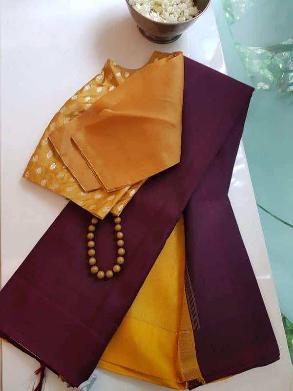Plain maroon with mustard zari pallu blouse