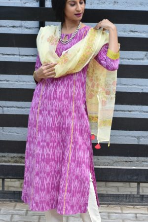 Purple ikat kurta with beige dupatta