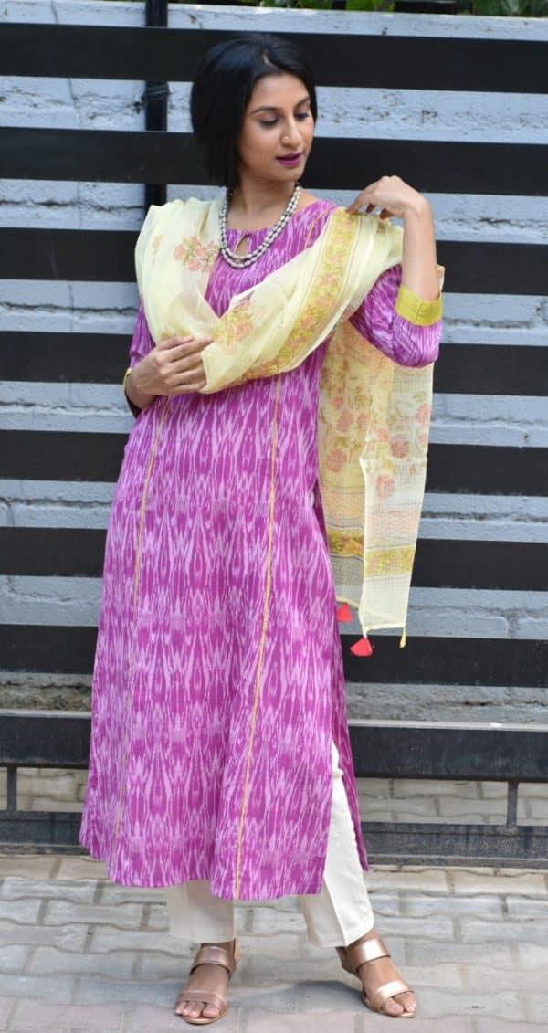 Purple ikat kurta with beige dupatta
