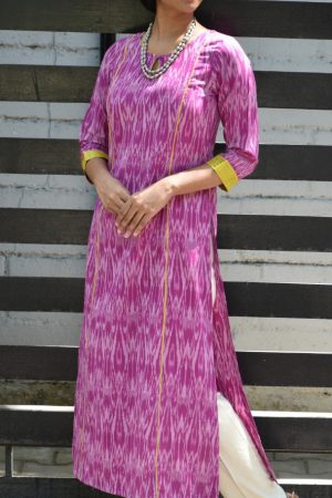 Purple ikat kurta