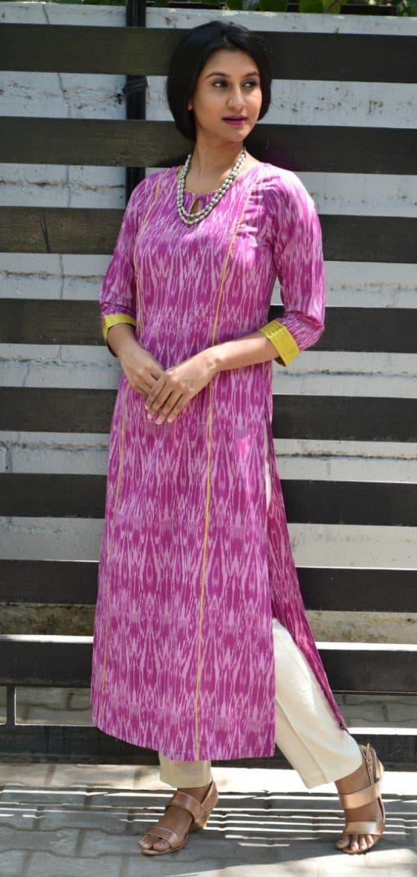 Purple ikat kurta