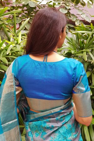 Rama blue kanchi silk blouse back