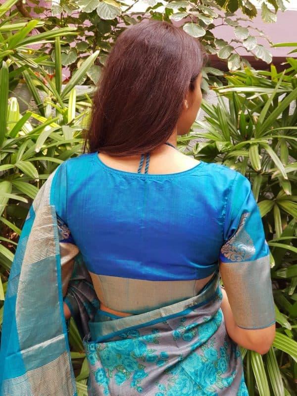 Rama blue kanchi silk blouse back