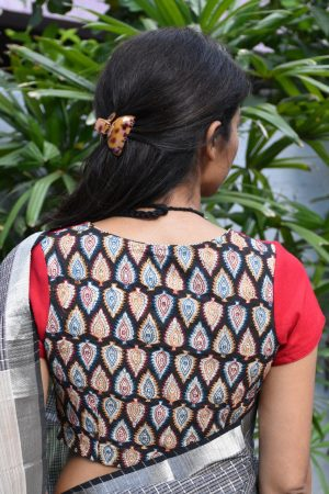 Red black and beige embroidered cotton blouse
