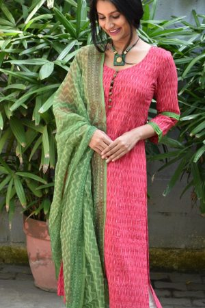 Cherry red ikat kurta with green dupatta