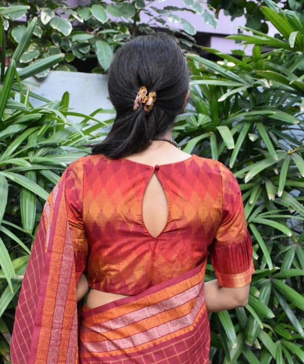 Red ikat silk cotton blouse back