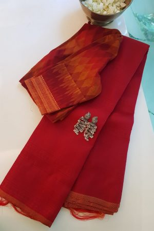 Red jacquard kanchi silk saree