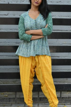 Sea green dhothi pants and top