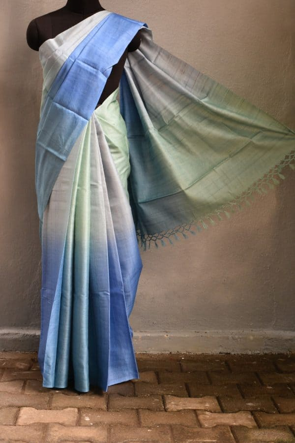 blue ombre tussar saree 1