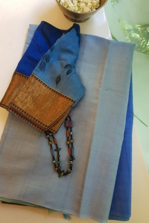 blue ombre tussar saree