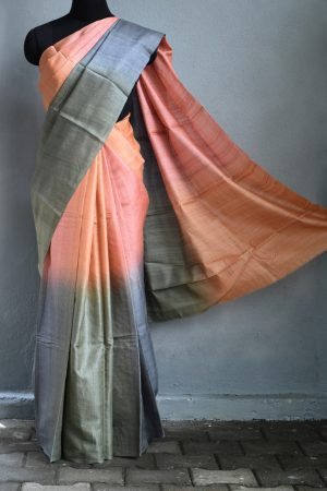 grey peach ombre tussar saree 1