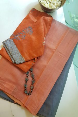 grey peach ombre tussar saree