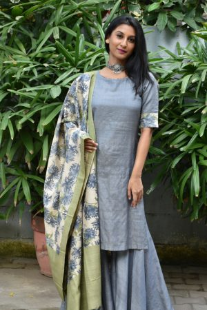 grey tussar sharara set