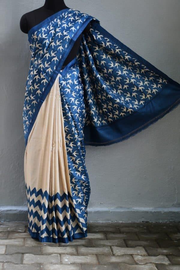 indigo blue bird design tussar saree 1