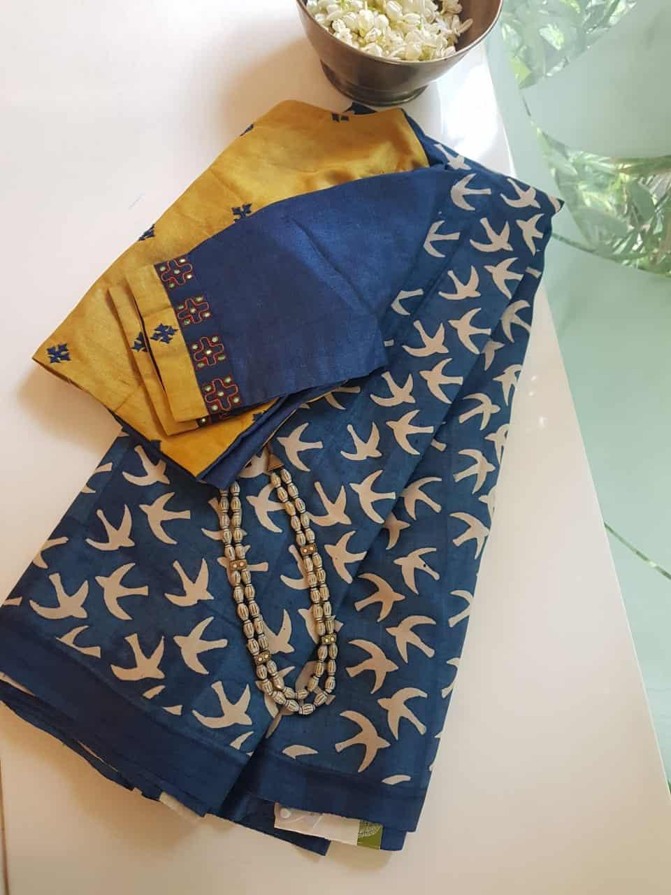 indigo blue bird design tussar saree
