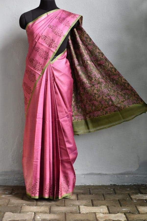 onion pink flower border tussar saree 1