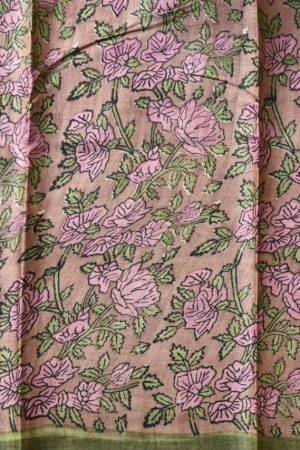 onion pink flower border tussar saree 2