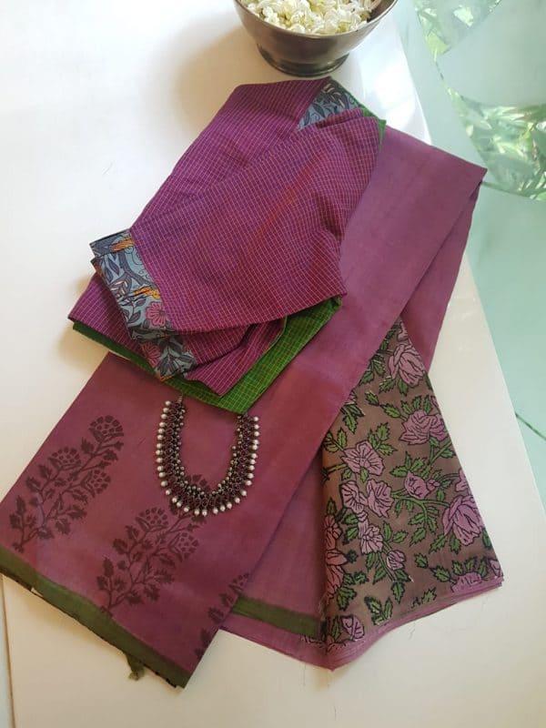 onion pink flower border tussar saree