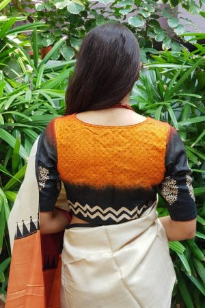 orange shaded tussar blouse back