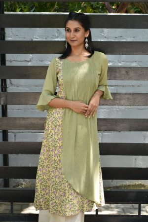 pale green georgette kurta 1