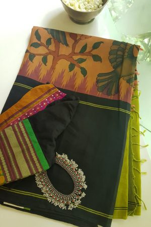 peach ganga jamuna kalamkai cotton with silk border saree 1