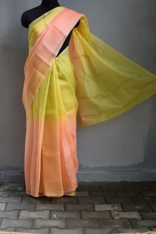 peach yellow ombre organza saree 1