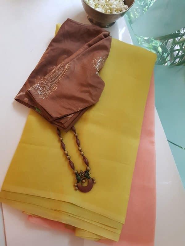 peach yellow ombre organza saree