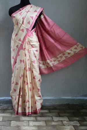 pink beige triangle print tussar saree 1