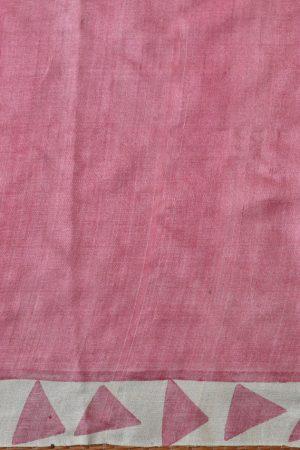 pink beige triangle print tussar saree 2
