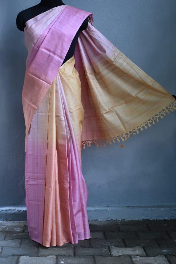 pink ombre tussar saree 1