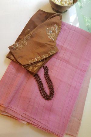 pink ombre tussar saree