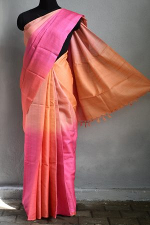 pink peach ombre tussar saree 1