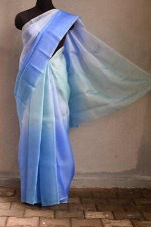 sky blue ombre organza saree 1