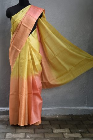 sunset ombre tussar saree 1