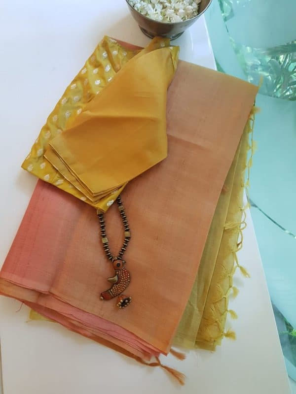 sunset ombre tussar saree