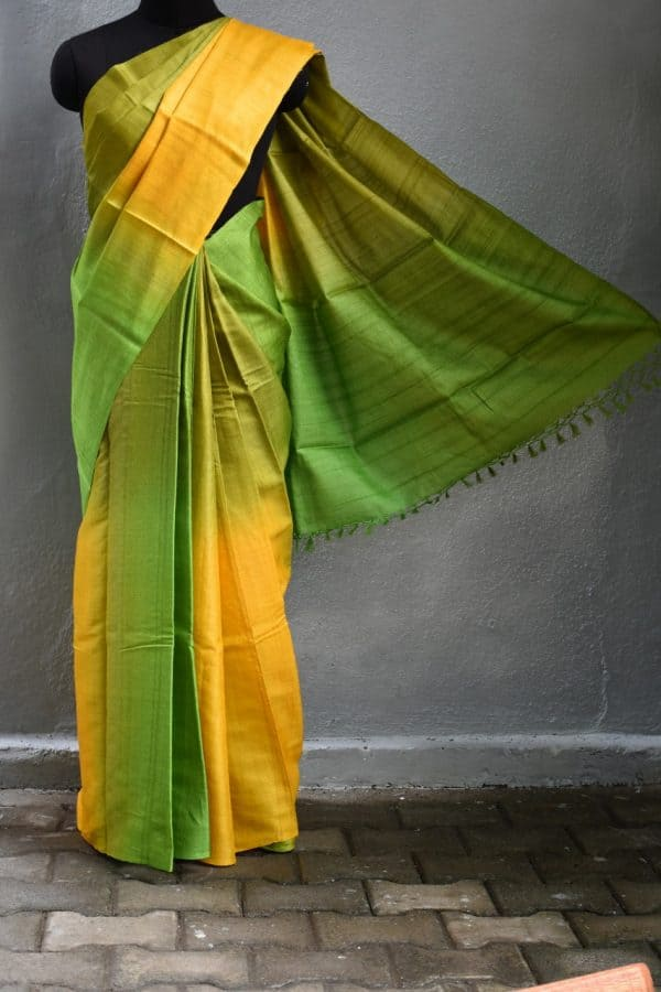 yellow green ombre tussar saree 1