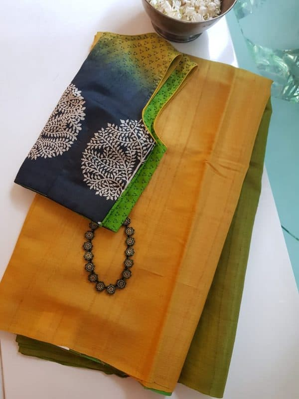 yellow green ombre tussar saree