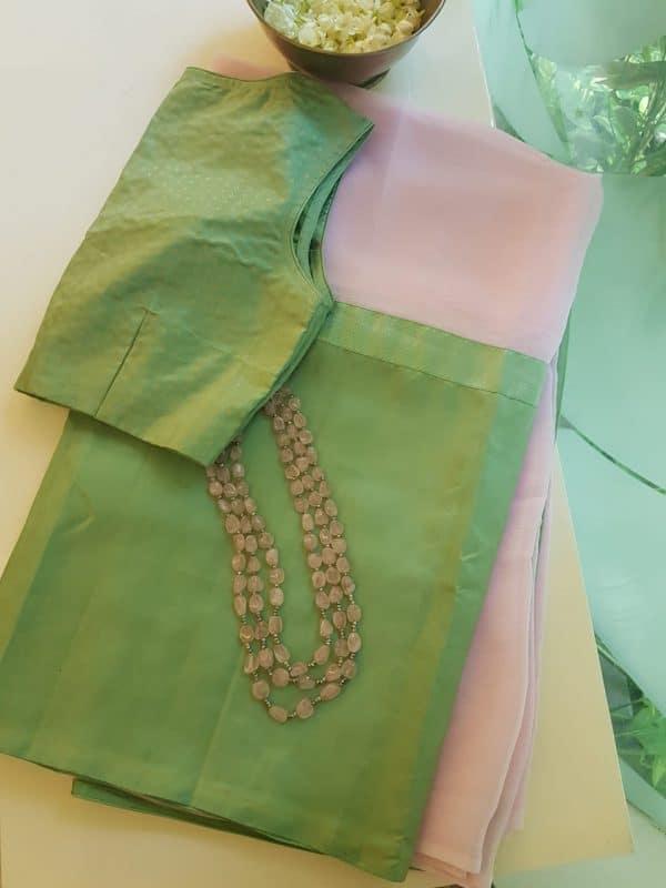 Baby pink and pale green chiffon kanchi silk fusion saree