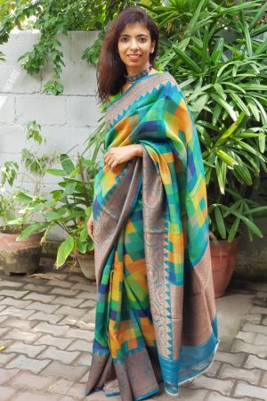 Blue multicoloured geometric print benarasi tussar saree