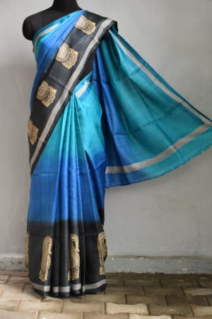Blue ombre printed tussar saree 1