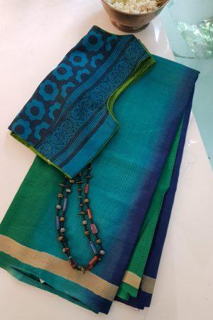 Blue ombre shibori tussar saree