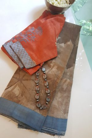 Brown abstract print tussar saree