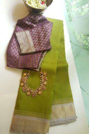 Green beige korvai kancheepuram silk saree