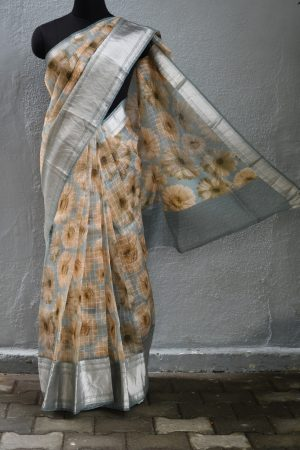Grey flower organza zari border saree 1
