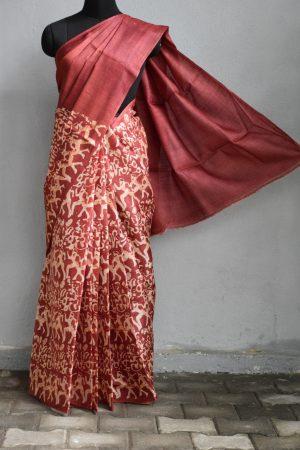 Maroon batik tussar saree