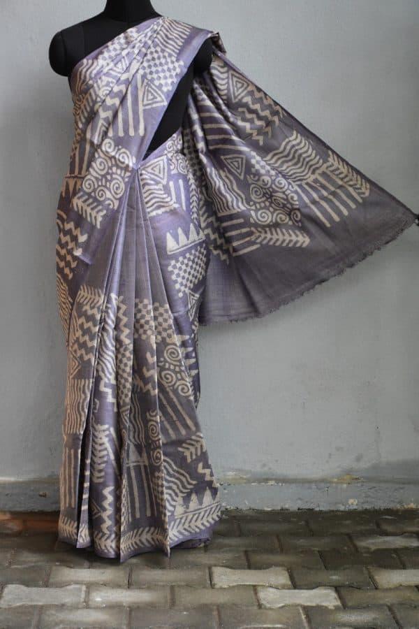 Mauve batik tussar saree 1