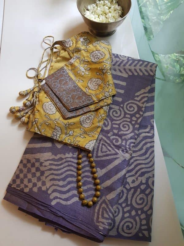 Mauve batik tussar saree