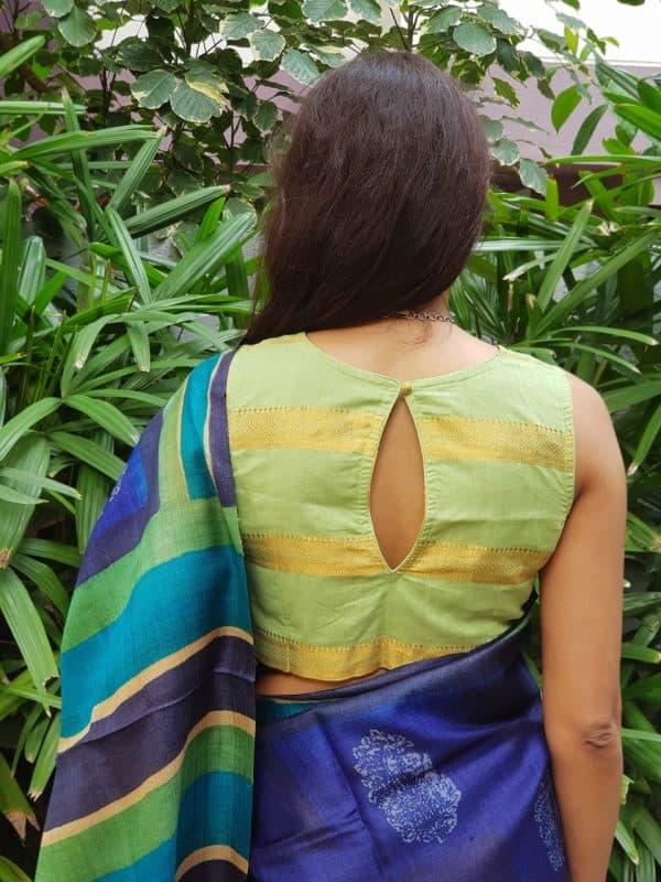 Mint green zari stripes cotton blouse back