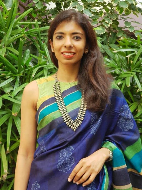 Mint green zari stripes cotton blouse front