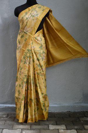 Mustard brown floral print tussar saree 1